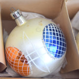 Vintage 1950s Hand Painted Large Glass Christmas Baubles / Decorations (Boxed)