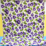 Vintage 1960s Synthetic Curtains - Flower Power - Purple