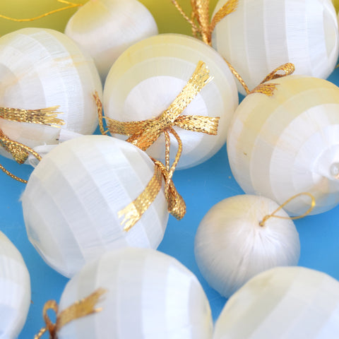 Vintage 1970s Satin Christmas Baubles - Snowballs - White