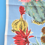 Vintage 1950s Cotton Tea Towel - Cactus Print