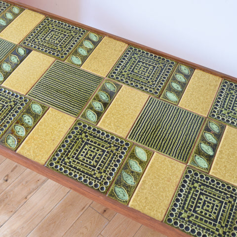 Vintage 1960s Tile topped Coffee Table - Dark Green, Mustard, Brown