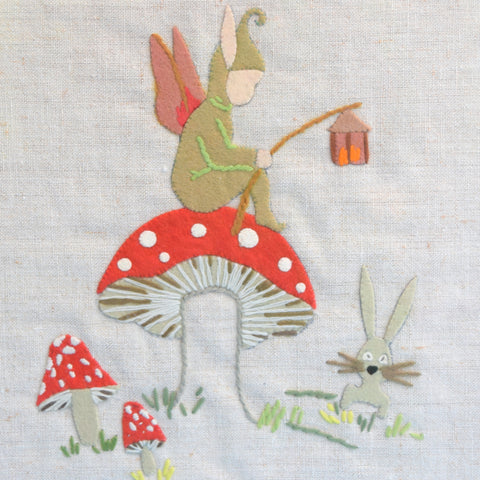 Vintage 1950s Embroidered Felt Picture - Toadstool & Pixie