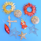 Vintage 1970s Mixed Christmas Decorations - Red/ Gold