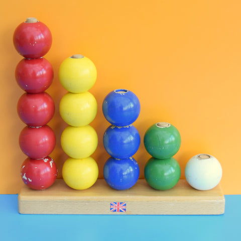 Vintage 1960s Escor Wooden Stacking Balls - Rainbow