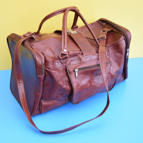 Vintage 1970s Leather Overnight Bag - Conker Brown