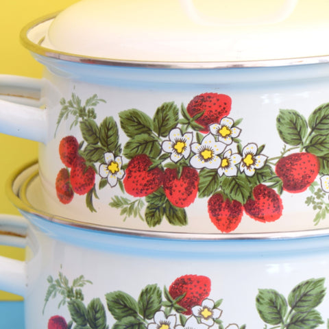 Vintage 1970s Stacking Enamel Pans - Strawberry Design