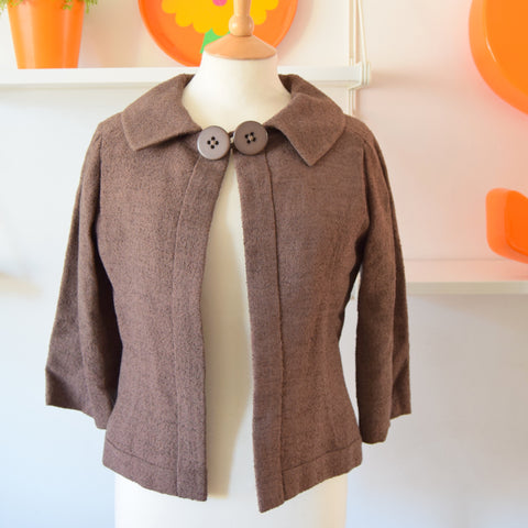 Vintage 1950s Boucle Cropped Jacket - Floral Lining - Size 12-14