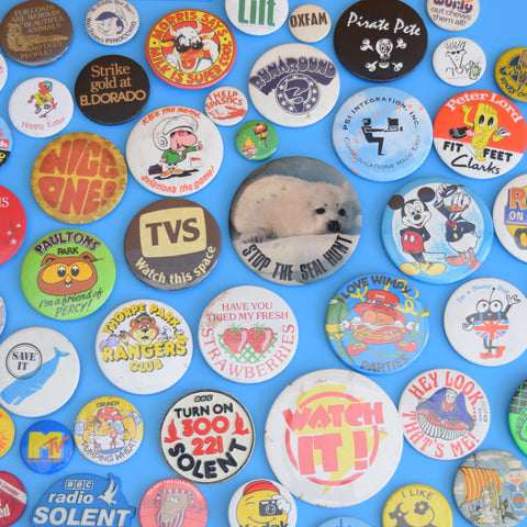 Vintage 1970s / 1980s Badges - Various Themes - Job Lot