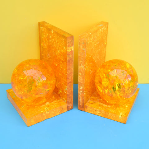 Vintage 1970s Shattaline Bookends- Yellow