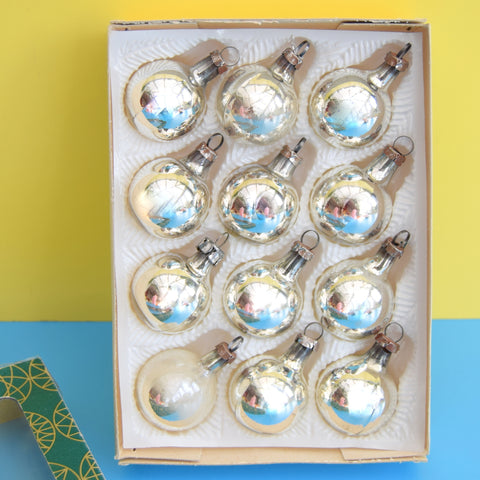 Vintage 1970s Glass German Christmas Baubles - Boxed - Silver