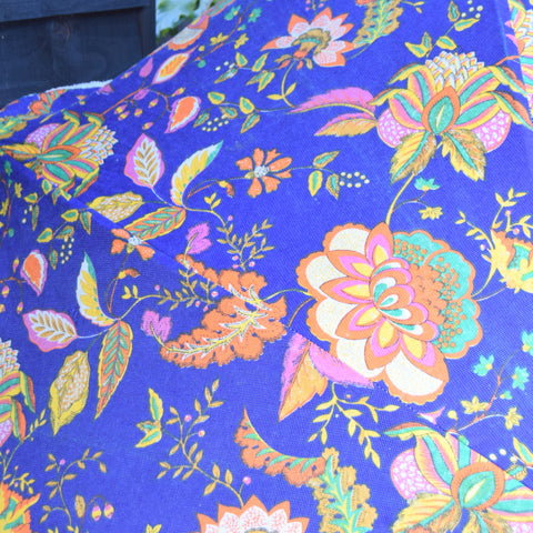 Vintage 1970s - Garden Parasol / Umbrella - Blue & Orange Flowers