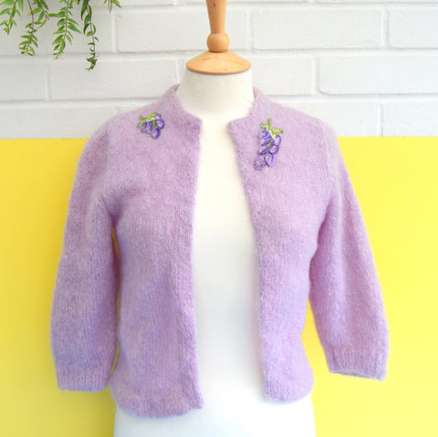 Vintage 1950s Cropped Mohair Cardigan - Lilac