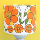 Vintage 1960s Doulton Lamp & Taunton Vale Shade - Flower Power - Orange