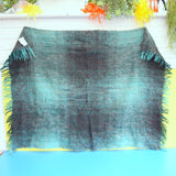 Vintage 1960s Mohair Small Blanket / Throw - Teal