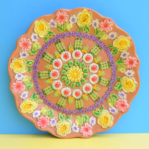 Vintage 1960s Large Flower Power Moulded Plate - Pink & Purple
