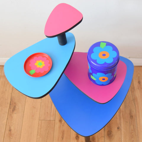 Vintage Style Formica Plant Stand / Table - Pink, Turquoise & Blue