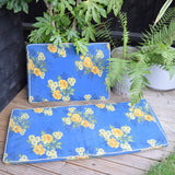 Vintage 1960s Padded Garden Cushions Flower Power - Blue