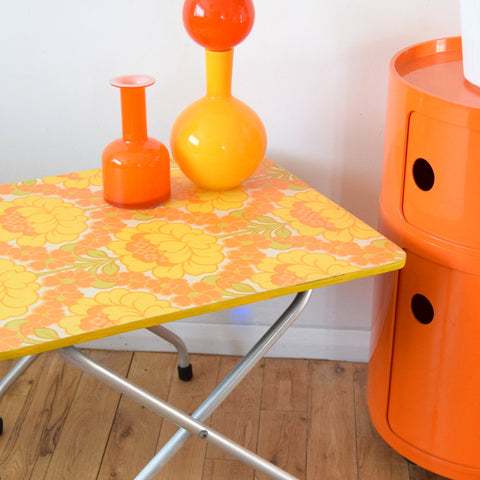 Vintage 1960s Folding Table - Flower Power Design - Orange & Yellow