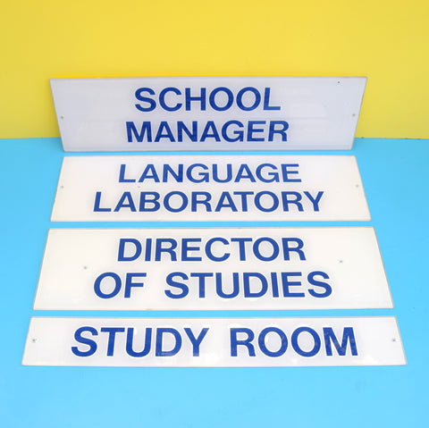 Vintage 1980s Perspex School Signs - Language Lab Etc