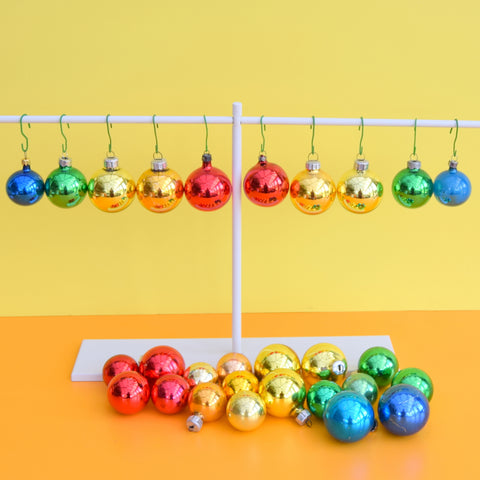 Vintage Mixed Glass Christmas Bauble Decorations - Rainbow