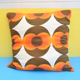 Vintage 1960s Large Floor Cushion & Pad - Geometric, Orange