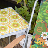 Vintage 1960s Folding Table - Camping, Glamping - Flower Power Design- Green