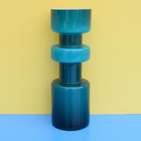 Vintage Cased Glass Vase - Hooped - Teal / Turquoise