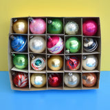 Vintage 1950s Hand Painted / Concave Small Glass Christmas Baubles / Decorations - Mixed (Boxed)