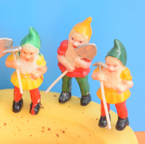 Vintage 1960s Small Plastic Gnome Plant / Cake Decorations x5