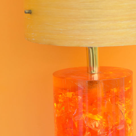 Vintage 1960s Shattaline Resin Table Lamp & Fibreglass Shade- Orange