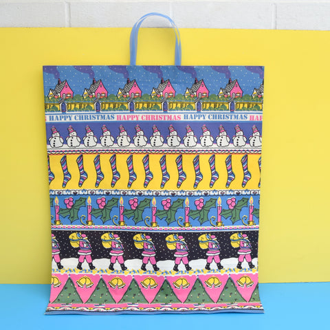 Vintage 1970s Large Paper Gift Bag - Coloroll Ltd -  Happy Christmas