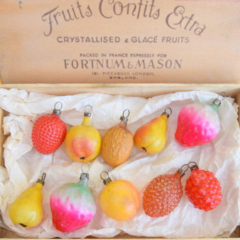 Vintage 1950s Glass Fruit Decorations / Baubles - Boxed