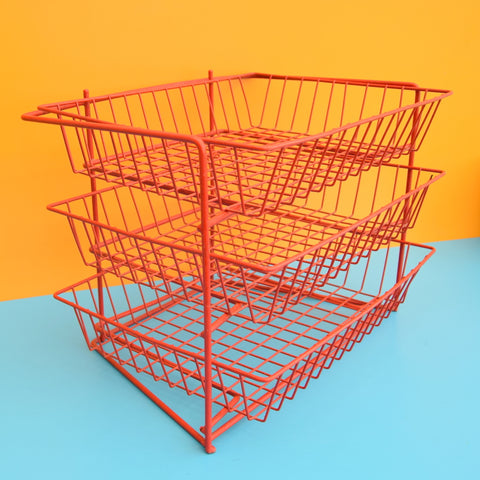 Vintage 1970s Wire Desk Filing / Vegetable Rack - Red