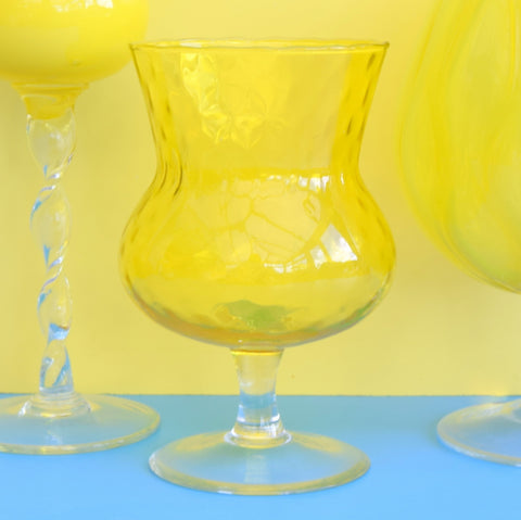 Vintage 1960s Italian Glass Brandy Balloons - Yellow