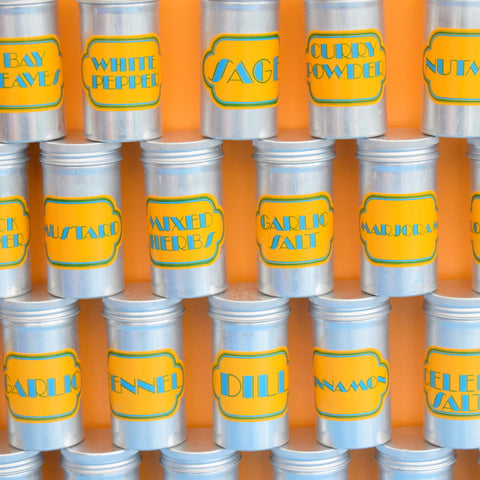 Vintage 1970s Metal Spice Canisters - Ian Logan - Blue & Yellow