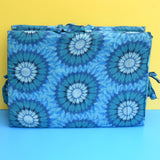 Vintage 1960s Padded Long Folding Cushion - Blue Flower Power