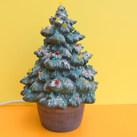 Vintage Ceramic Christmas Tree Lamp - Rainbow Ball Bulbs - Small