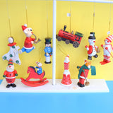 Vintage 1970s Wooden Christmas Decorations x10