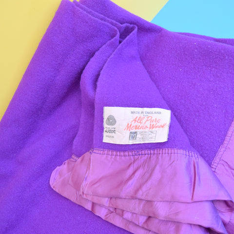 Vintage 1960s Merino Wool Blanket / Throw - Vibrant Purple