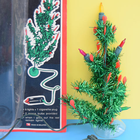 Vintage 1980s Small Tinsel Christmas Tree / Lights - Car