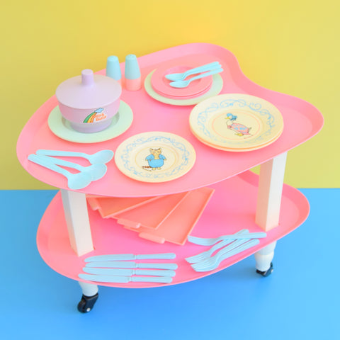Vintage 1980s Plastic Dolls Trolley / Tableware - Bright Star - Pink / Pastels