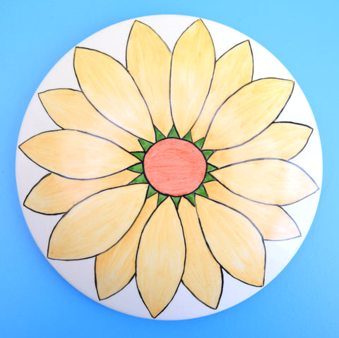 Vintage 1990s Ceramic Pot With Lid - Flower Power - Yellow