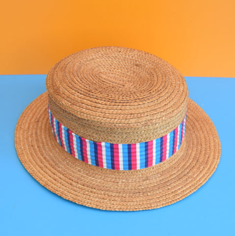 Vintage 1960s Straw Hat Boater - Vinyl Stripe Band