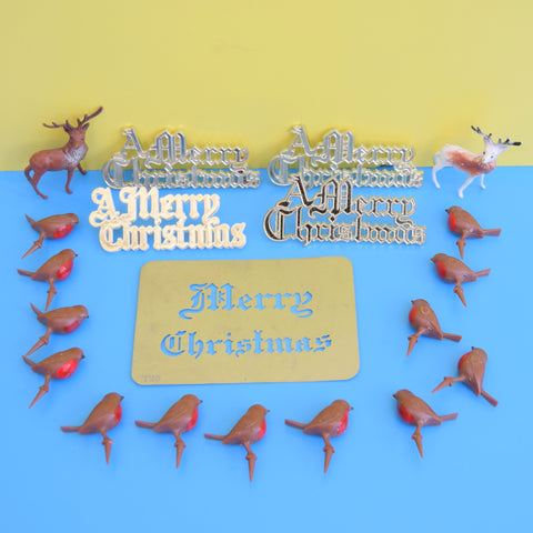 Vintage 1970s Small Plastic Christmas Robin Cake Decorations x4