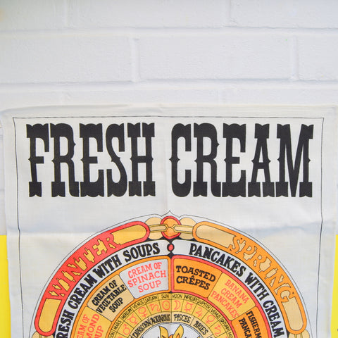 Vintage 1960s Unused Cotton Tea Towel - Fresh Cream