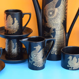 Vintage 1970s Portmeirion Phoenix Coffee Set - Black & Gold