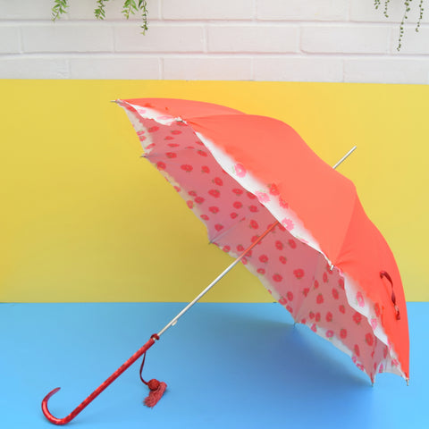 Vintage 1950s Umbrella / Parasol - Lined Flower Power - Red