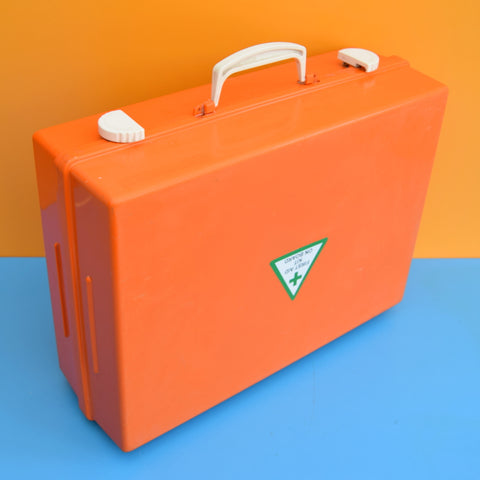 Vintage 1970s First Aid / Storage Case - Orange Hard Plastic