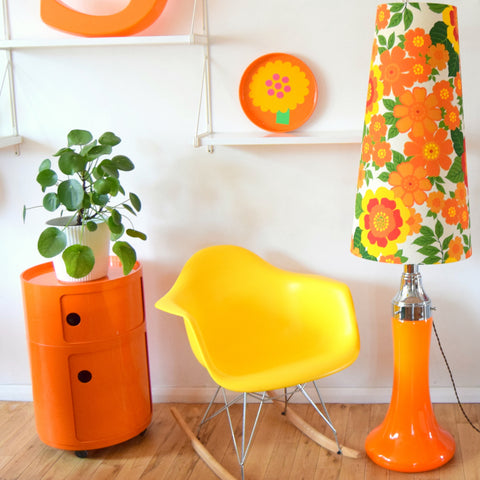 Vintage 1960s Floor Lamp - Glass / Chrome Base - Flower Power Orange Shade