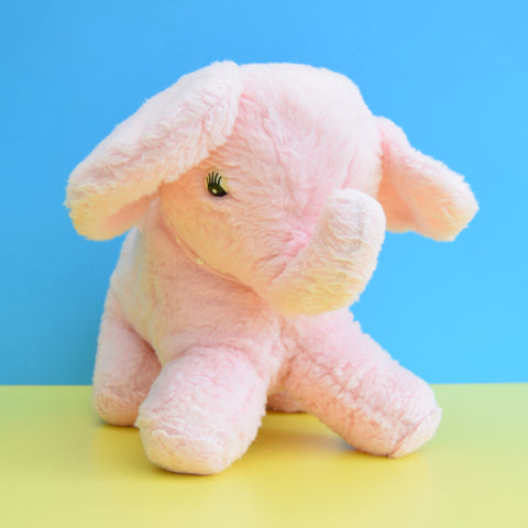 Vintage 1970s Large Fluffy Elephant Toy - Pink